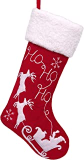 Valery Madelyn 21 inch Traditional Red White Velvet Christmas Stockings with Santa Reindeer and Faux Fur Trim, Themed with Tree Skirt (Not Included)
