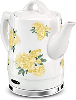BELLA 1.5 Liter Electric Ceramic Tea Kettle with Boil Dry Protection & Detachable Swivel Base, Yellow Floral