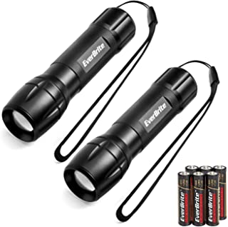 EverBrite LED Mini Flashlight 2 Pack Zoomable LED Torch, Water Resistant, 3 Modes High/Low/Strobe, Pocket Size, Batteries Included