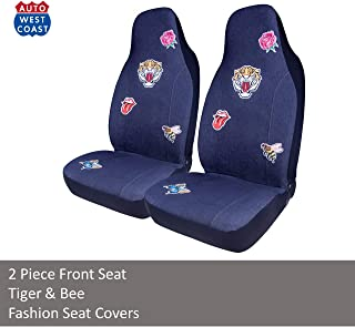 West Coast Auto Car Seat Covers for Cars, Trucks, Vans, SUV, Crossovers - Fashion Denim Badge Embroidery, Universal Fit, Airbag Compatible (Tiger)