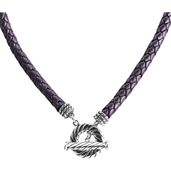 American West Sterling Silver Rope Chevron Brown Leather Necklace 17 to 20 Inch