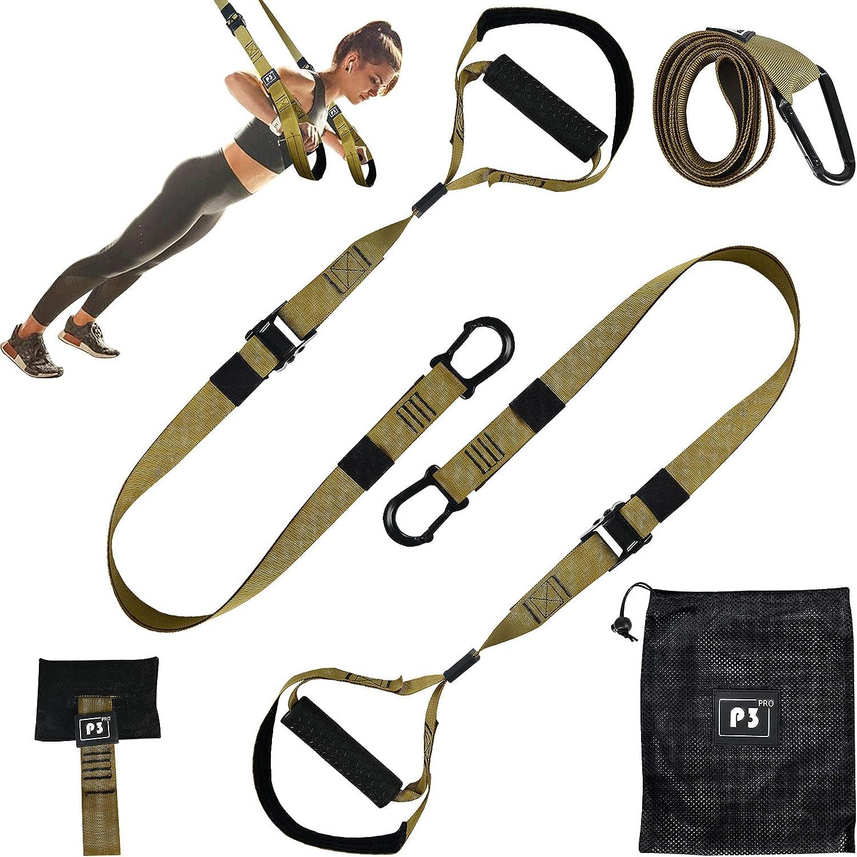 Opaltool Juego de entrenamiento en suspensión con anclaje para puerta ajustable, para fitness en casa, suspensión adecuada para viajes y para el entrenamiento en interiores y exteriores.