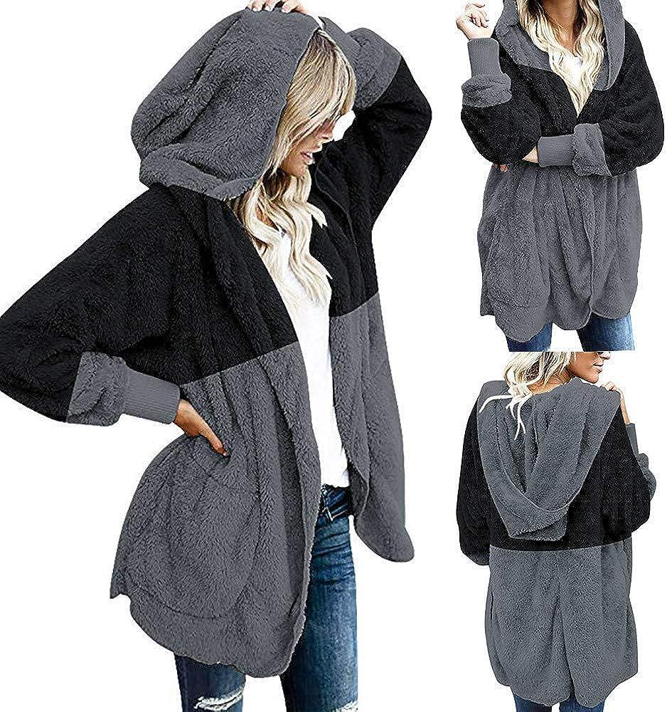 iHENGH Damen Warm bequem Herbst Winter Lässig Stilvoll Jacke Mantel Oversized Open Front Kapuzen Drapierte Taschen Cardigan Schwarz