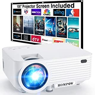 """Video Projector, 4500L Portable Mini Projector with 100"""" Projector Screen, 1080P Supported Movie Projector Compatible with..."""