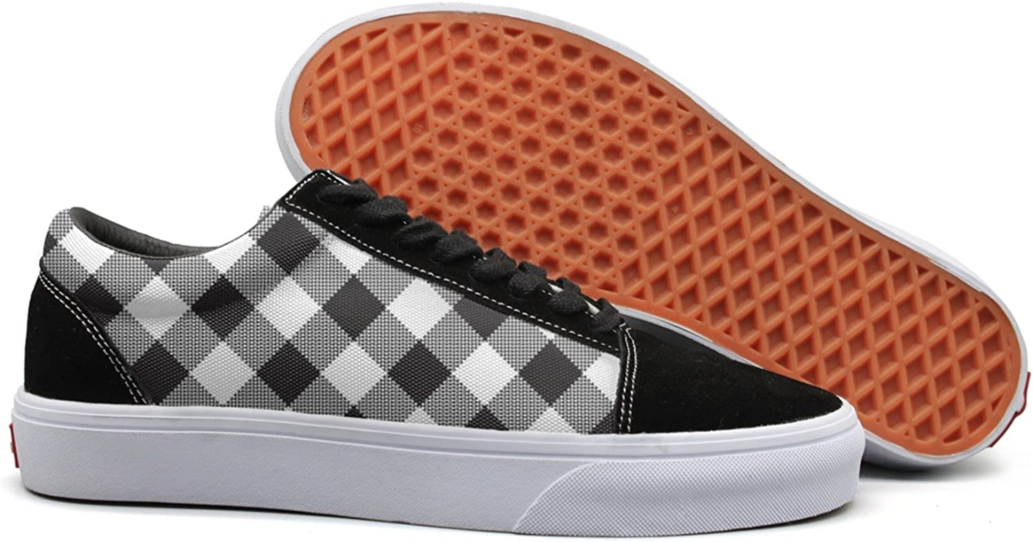 Winging Women White Black Checkerboard Check Comfortable Running shoes