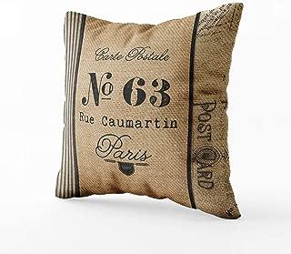 Funda de almohada saco de grano 18 x 18 pulgadas almohada de tiro, almohada de saco de grano, cojín de lino, almohada decorativa, saco de grano