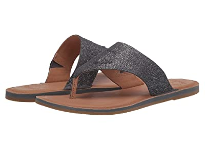 Sperry Seaport Thong Leather (Silver Metallic) Women