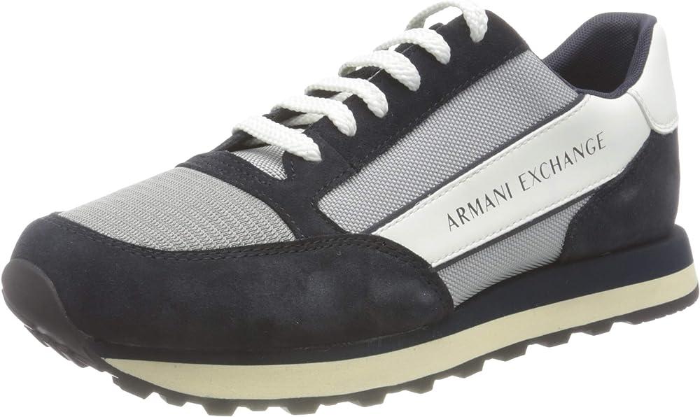 Armani exchange osaka sneakers, scarpe da ginnastica per uomo,in camoscio e tessuto XUX0831