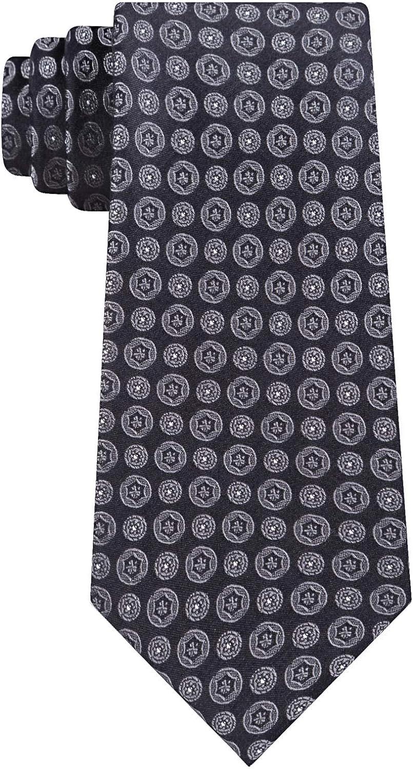 Challenge the lowest price of Japan Calvin Klein Mens Modern Medallion Black One Self-tied Necktie Large discharge sale