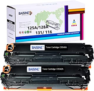 BAISINE Compatible Toner Cartridge Replacement for HP 125A CB540A for HP Color Laserjet CP1518ni CP1215 CM1312nfi CP1515n CM1312 MFP Laser Printer Ink (Black, 2 Pack)