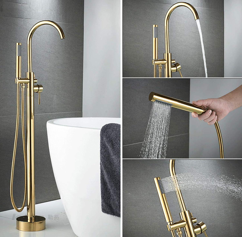 XTXWEN Wasserhahn Bodenmontage Standing Bathtub Faucet Single Handle Tub Mixer Tap mit Handdusche, Bad-Dusche-Systeme-withhole,Gold
