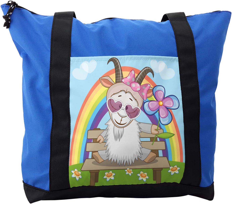 Lunarable Goat Shoulder Bag, Animal Heart Shaped Glasses, Durable with Zipper