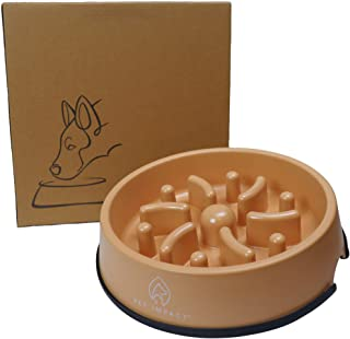 PET IMPACT Slow Feeder Dog Bowl, Natural Bamboo Fibre Bowl to Slow Down Eating, Prevent Risk of Choke Bloat Overeating wit...