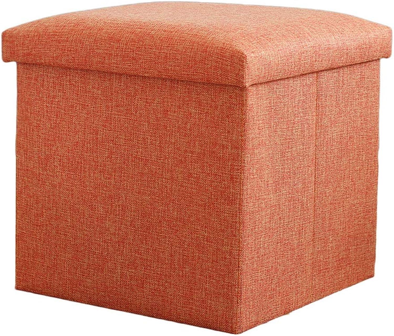 Stool Storage Stool Storage Stool Fabric Multi-Function Square Storage Box 38  38  38cm ZHAOSHUNLI (color   orange)