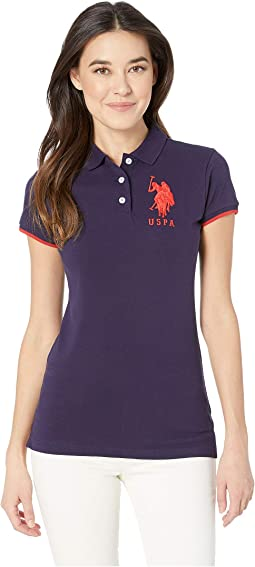 Contrast Patch Big Pony Polo Shirt