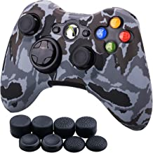 9CDeer 1 Piece of Silicone Water Transfer Protective Sleeve Case Cover Skin + 8 Thumb Grips Analog Caps for Xbox 360 Controller, Grey Camouflage