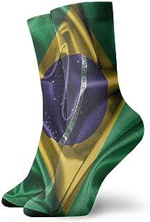 Bandera de Brasil Hombres Mujeres Moda Novedad linda Divertida Casual Art Crew Calcetines