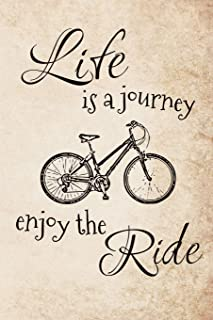 Life is a Journey - Enjoy the Ride: A funky bicycle art travel journal for bike lovers
