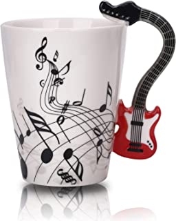 12.9 Oz Guitar Mug Music Note Coffee Mug Ceramic Guitar Music Cup Mug Gifts for Guitar Players Musicians,Red