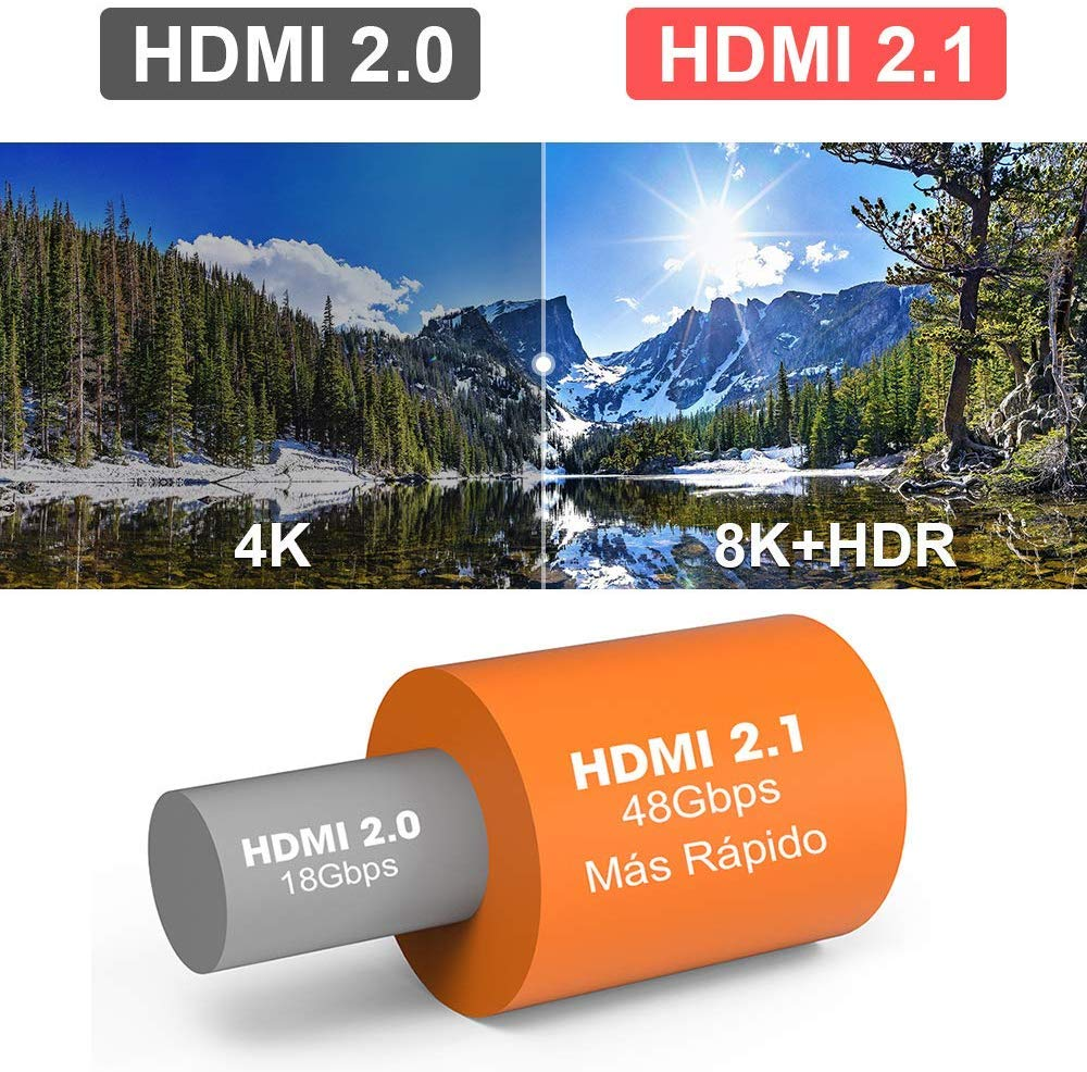 Sikai Cable HDMI 2.1, 8k/4k, 48Gbps, 4320P UHD HDR 24AWG, PS4 High Definition Multimedia Interface, Compatible con Samsung QLED TV, 8k, Sony TV, Roku, PC: Amazon.es: Electrónica