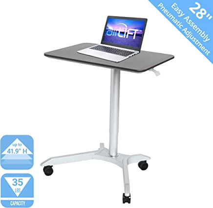 """Seville Classics Airlift XL 28"""" Pneumatic Height Adjustable Sit-Stand Mobile Laptop Computer Desk Cart (27.1"""" to 41.9"""" H), Espresso"""