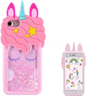 Joyleop Quicksand Unicorn Case for iPhone 5 5C 5S SE,Cute 3D Cartoon Animal Cover,Kids Girls Cool Fun Glitter Soft Silicone Gel Rubber Bling Kawaii Character Unique Shell Skin Protector for iPhone5