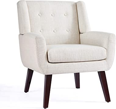 HUIMO Accent Chair, Button Tufted Upholstered Sofa Chairs, Comfy Linen Fabric Armchair for Bedroom, Reading, Mid-Century Mode