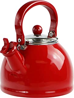 Calypso Basics by Reston Lloyd Harmonic Hum Whistling Teakettle with Glass Lid, 2.2-Quart, Red