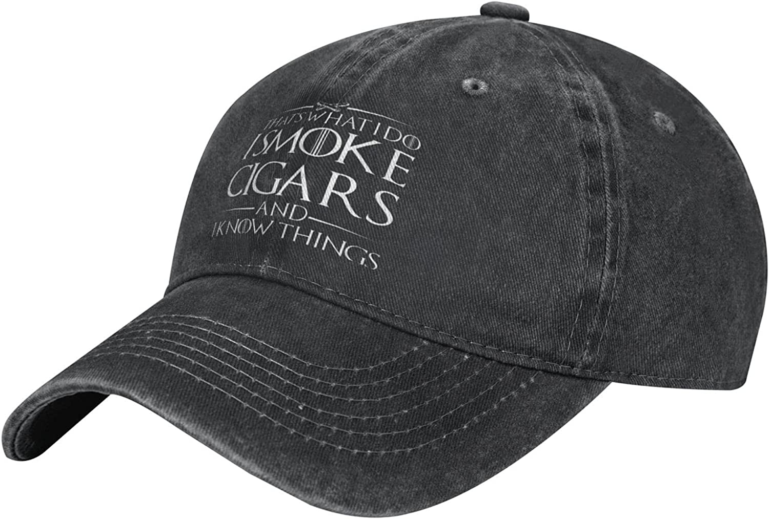 Hat'S What I Do I Smoke Cigars and I Know Things 1 Man's Women's Retro Washed Baseball Cap Cowboy Hat Black