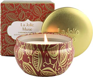 LA JOLIE MUSE Cinnamon Pumpkin Scented Candle, 100% Natural Soy Candle for Home, Vanilla Tobacco Bergamot, 45 Hours Long B...