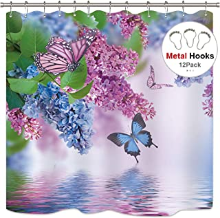 Riyidecor Blue Lilac Butterfly Up Lake Shower Curtain Set 72x78 Inch with Metal 12 Pack Hooks Pink Butterfly Purple Wild Flower Teen Girls Spring Decor Fabric Set Polyester Waterproof