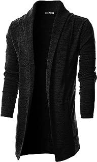 OHOO Mens Long Sleeve Draped Lightweight Open Front Shawl Collar Longline Cardigan