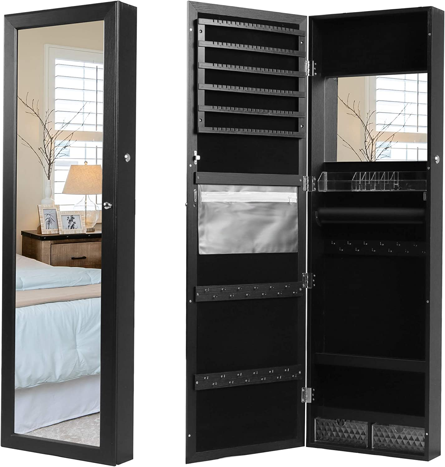 """Lavievert Jewelry Armoire Lockable Jewelry Cabinet 47.2"""" H Wall/Door Mounted Jewelry Display Organizer with Full Length Mirror, Interior Makeup Mirror, Drawers, Spacious Storage - Black: Home Improvement"""