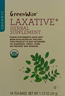 GreenWise Organic Laxative Herbal Supplement, Senna Leaf - Peppermint Leaf - Licorice Root - Fennel Seed, one box of 16 te...