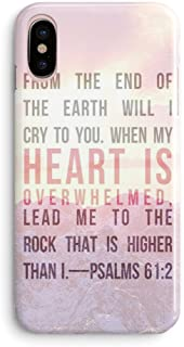 frepstudio iPhone XR Case Girls,Women Life Power Quotes Pink Cute Christian Quotes Bible Verses Motivational Sunset Mountain Psalm 61:2 Lead Me to The Rock Lord Soft Case Compatible for iPhone XR
