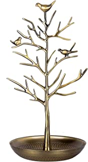U.mslady Jewellery Display/Stand - Antique Birds Tree/Earring Necklace Bracelets Jewelry Storage Holders/Hanging/Organiser/Rack/Tower Antique Antique Yellow Bronze
