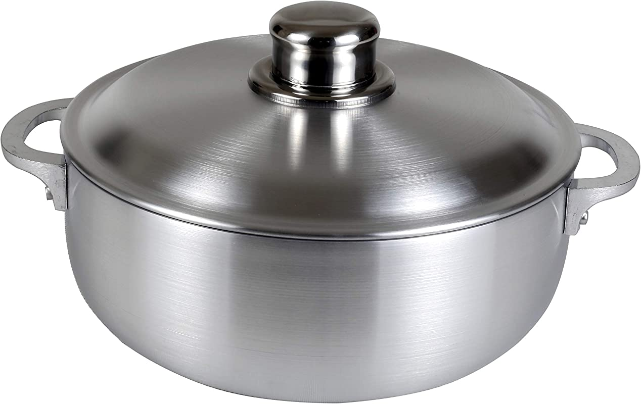 Kitchen Sense Heavy Gauge Polished Aluminum Caldero Dutch Oven Cauldron With Aluminum Lid And Stainless Steel Knobs 3 7 Quart