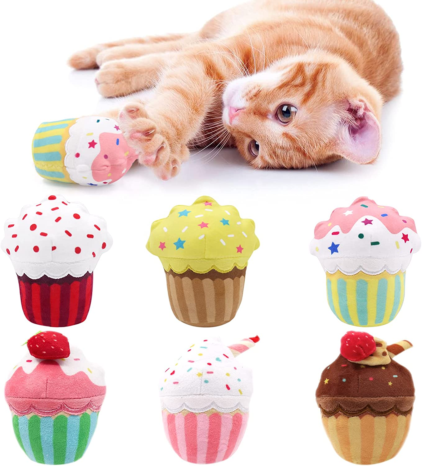 Limited Special Price 1 year warranty CiyvoLyeen 6 PCS Cupcake Catnip Cat Kitte Cute Toys