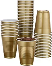 50 Pack - 18 Oz Disposable Gold Plastic Cups Big Party Cup Perfect For Birthday Party's Tableware