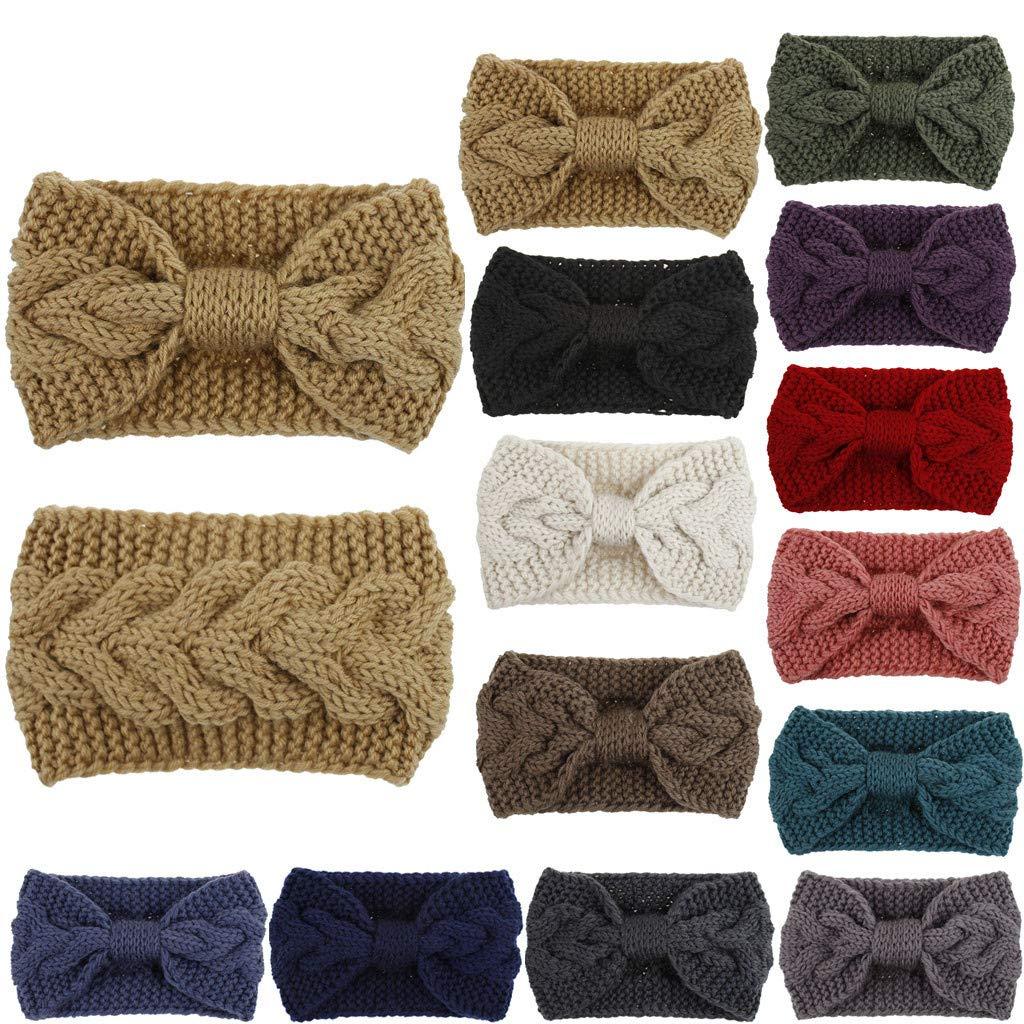 Womens Winter Ear Warmer Headband - Warm Winter Cable Knit Headband, Soft Stretchy Thick Fuzzy Headwrap Earwarmer (03-Black)