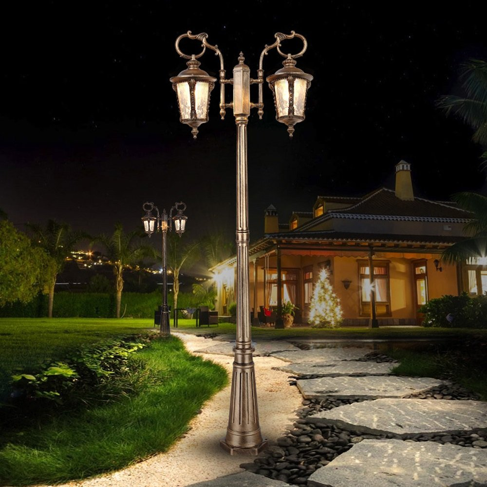 Modeen 185CM 2-Luces Luces LED de jardín Poste de la lámpara Linterna accionada Patio Camino