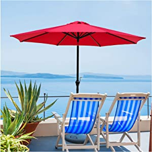 Patio Umbrella Outdoor Table Umbrella - 9 FT Patio Umbrella With Push Button Tilt And Crank For Backyard, Beach, Pool, Market, Garden, Deck, 8 Sturdy Ribs (red)