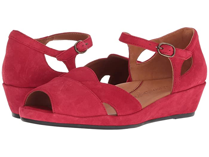 1940s Womens Footwear LAmour Des Pieds Betterton Red Kid Suede Womens Sandals $139.99 AT vintagedancer.com