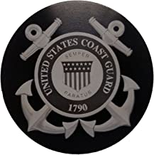 """product image for HMC Billet United States Coast Guard Aluminum 5"""" Laser Engraved Trailer Hitch Cover"""