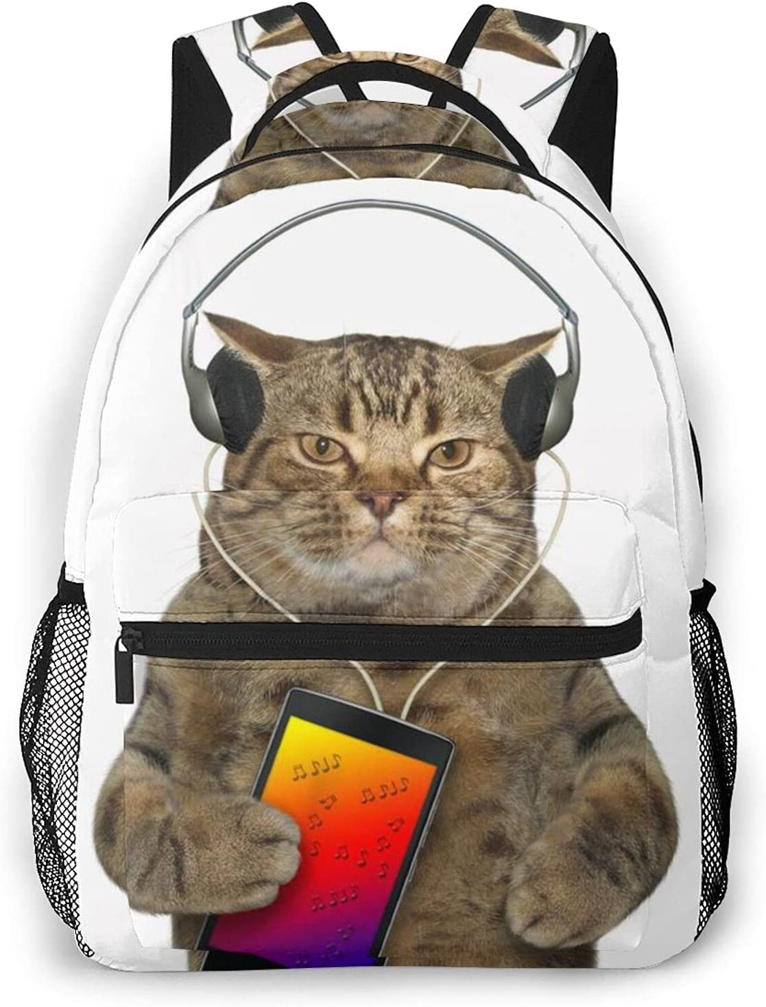 Black Direct store Angry Cute Chubby Cat With Listening L Quality inspection To Headphones Music