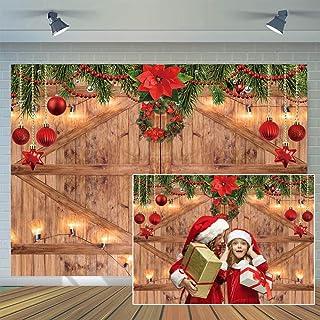 CYLYH 3 x 2,4 m Weihnachtshintergrund für Silvester, Party Hintergrund, Scheunentür, Familienfeier, Weihnachtsdekoration, Fotostudio Requisiten D507