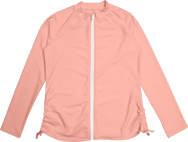 SwimZip Women's Long Sleeve Zipper Rash Guard UPF 50+ (Multiple Colors)