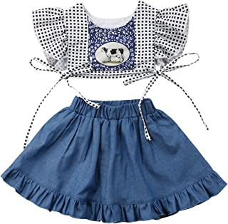 Infant Baby Girl Cow Print Outfit Ruffle Denim Skirt with Crop Top Summer Clothes Set