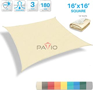 Patio Paradise 16' x 16' Tan Beige Sun Shade Sail Square Canopy - Permeable UV Block Fabric Durable Outdoor - Customized Available