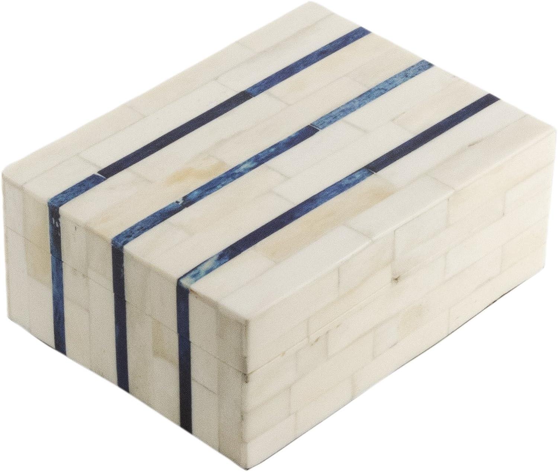 Eccolo Naturals Decorative Box, Medium, Triple Stripe bluee and Ivory